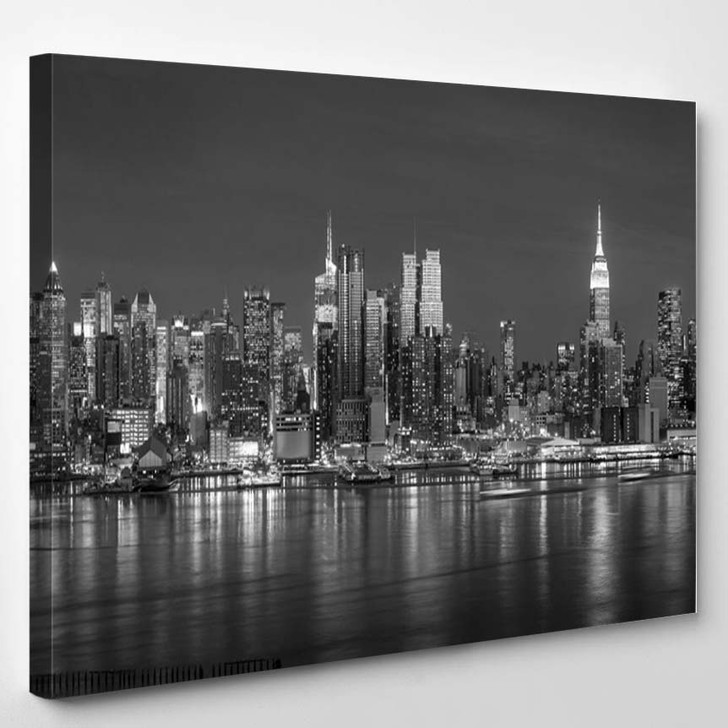 New York City With Skyscrapers Illuminated Over Hudson River Panorama In Black And White - Landscape Canvas Art Print
