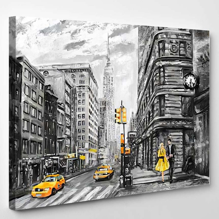Oil Painting Street View Of New York - Landscape Canvas Art Print
