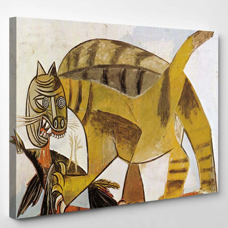 Pablo Picasso Cat Devouring A Bird - Abstract Canvas Art Print