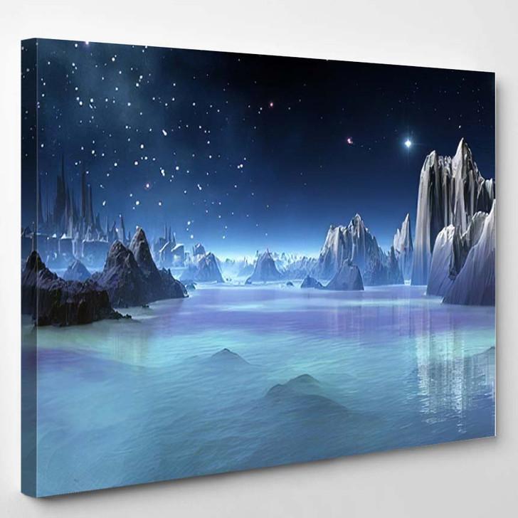 3D Created Rendered Fantasy Alien Planet - Fantasy Canvas Art Print