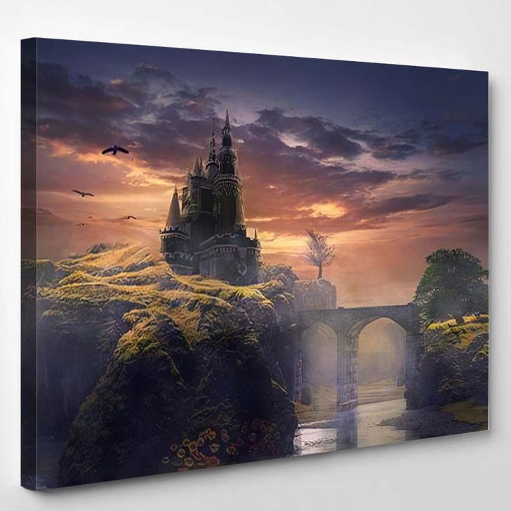 3D Illustration Castle On Hill Sunrise - Fantasy Canvas Art Print