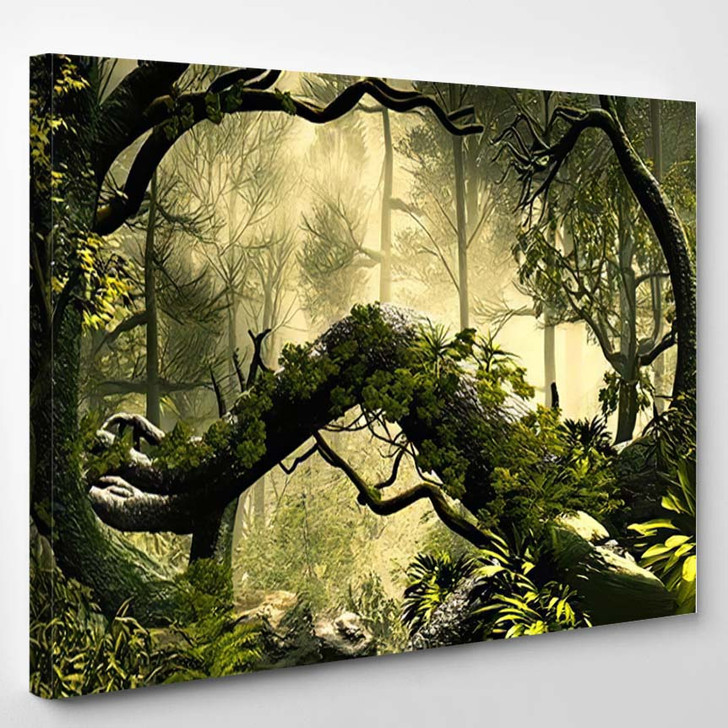3D Illustration Forest Landscape Dense Cloudy - Fantasy Canvas Art Print
