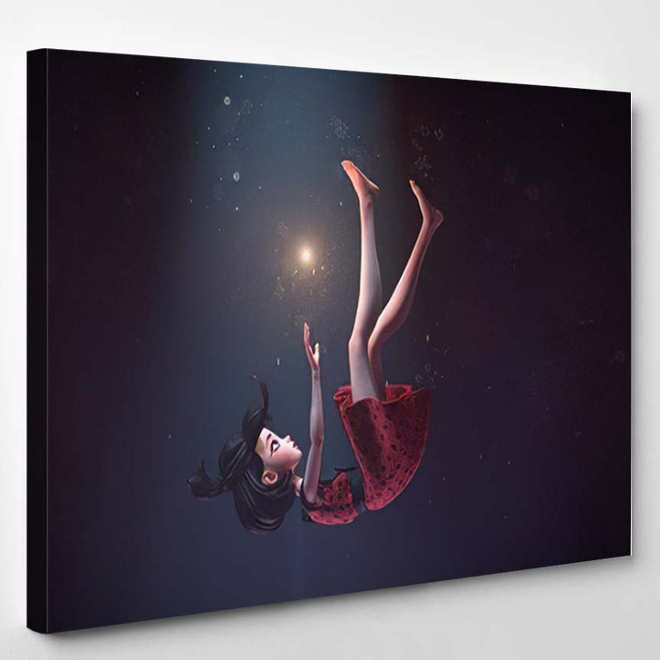 3D Illustration Girl Retro Dress Falling - Fantasy Canvas Art Print