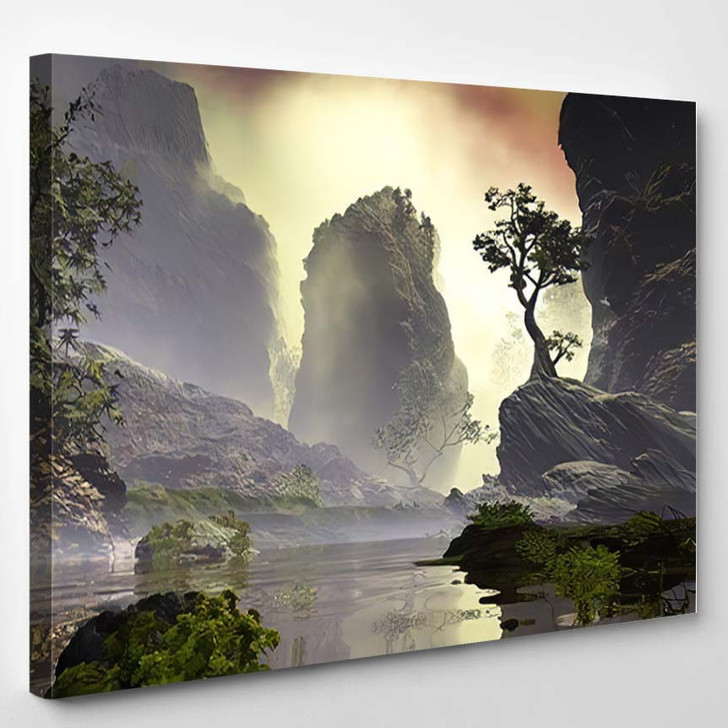 3D Illustration Landscape Fancy Concept Which - Fantasy Canvas Art Print