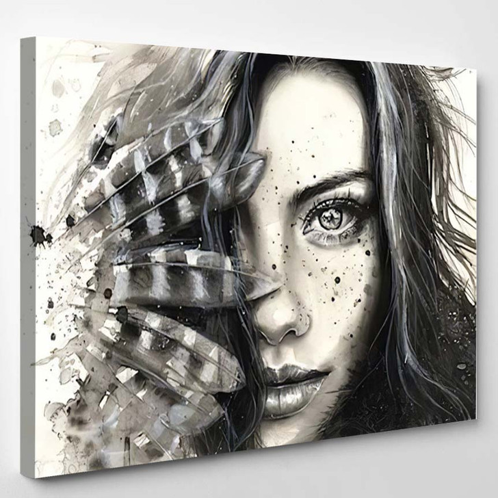 Painted Girl 2 - Abstract Canvas Art Print