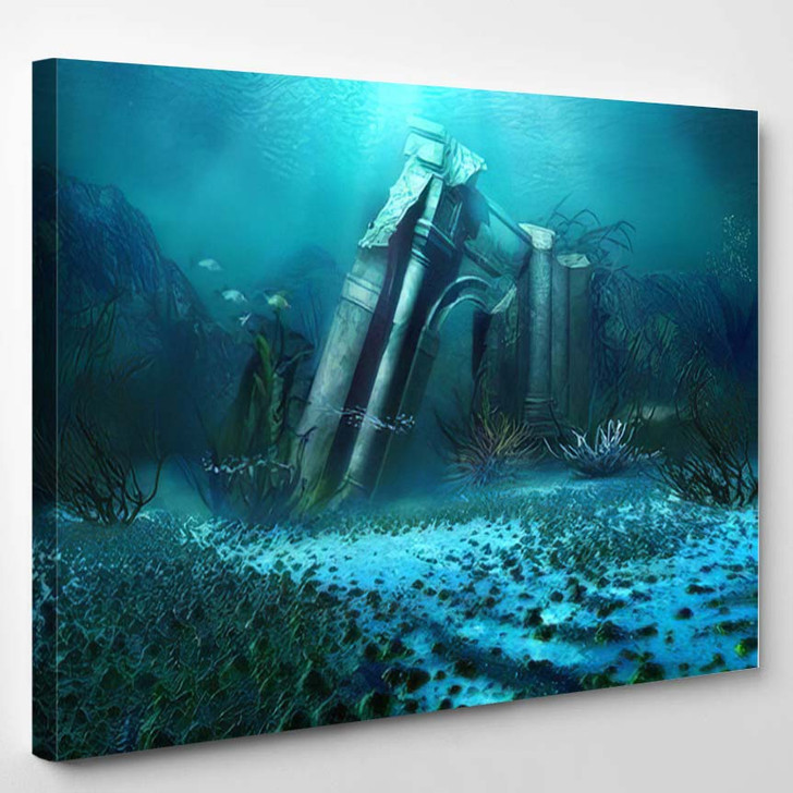 3D Illustration Rendered Underwater Fantasy Landscape 1 - Fantasy Canvas Art Print