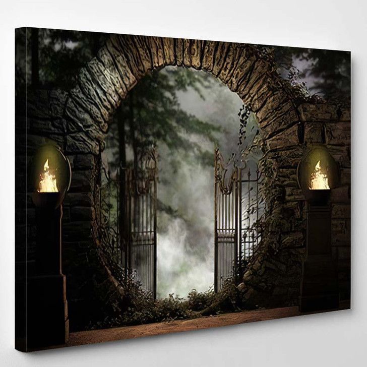 3D Illustration Stone Gated Moon Entrance - Fantasy Canvas Art Print