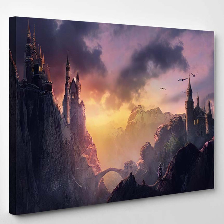 3D Image Castle On Mountain Sunset - Fantasy Canvas Art Print