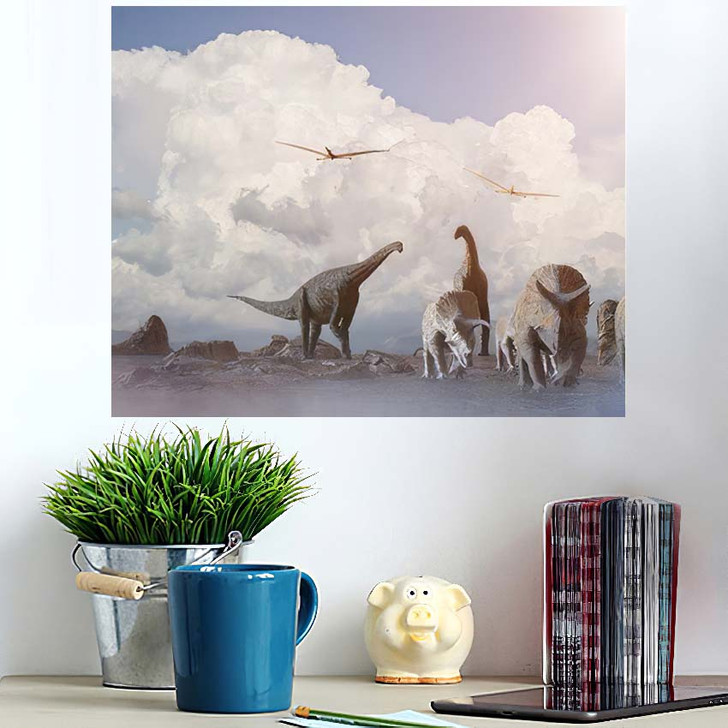 3D Illustration View Fantasy Landscape Dinosaur - Dinosaur Animals Poster Art