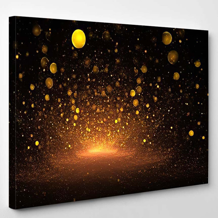 Abstract Golden Drops On Black Background - Fantasy Canvas Art Print
