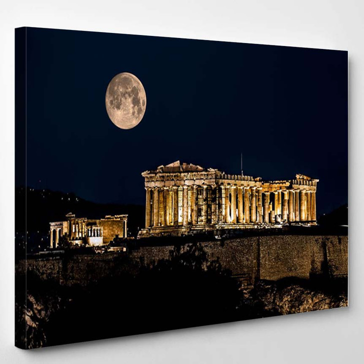 Parthenon Of Athens At Night With Full Moon Greece - Landscape Canvas Art Print