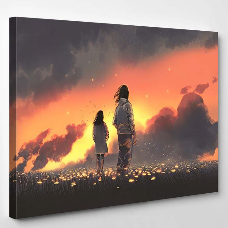 Beautiful Scenery Young Couple Standing Glowing - Fantasy Canvas Art Print