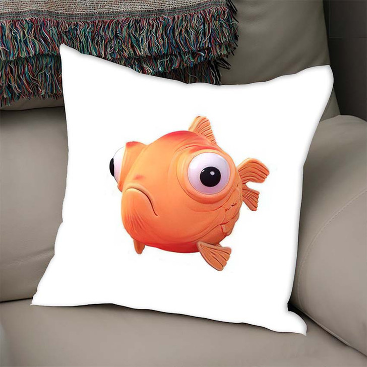 3D Cartoon Character Spherical Goldfish Big - Cartoon Throw Pillow