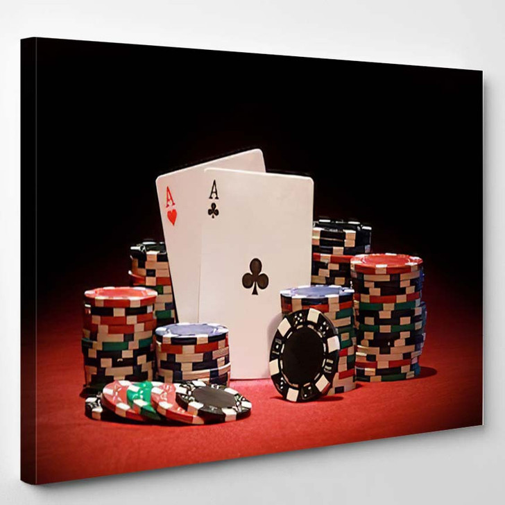 Poker Chips And Playing Cards - Gaming Canvas Art Print