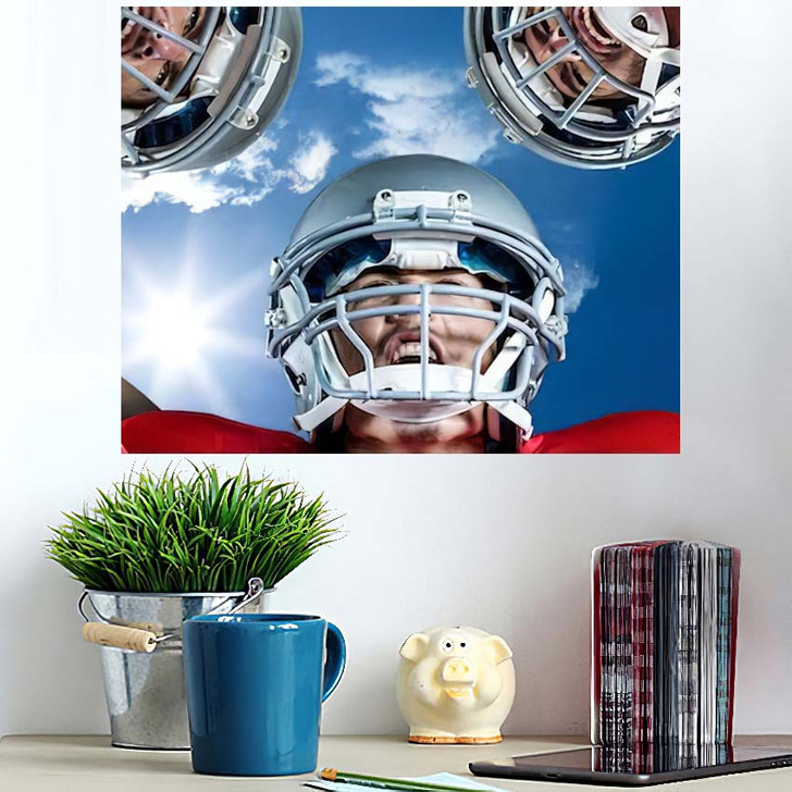 3D American Football Huddle Against Bright - Football Poster Art
