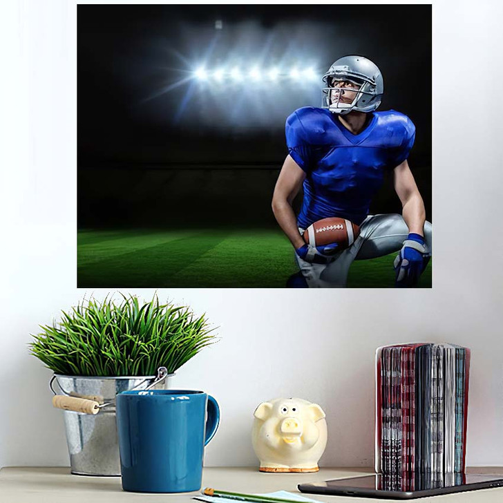 3D American Football Player Ball Kneeling - Football Poster Art