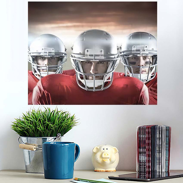3D American Football Team Against Rugby - Football Poster Art