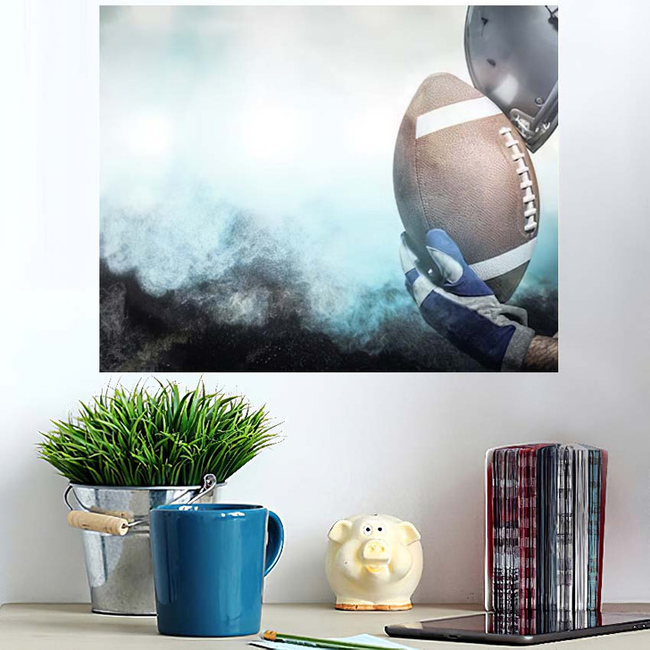 3D Close Upset American Football Player - Football Poster Art