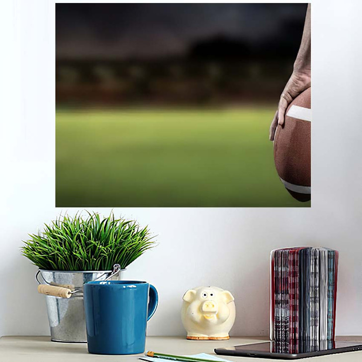 3D Cropped Image American Football Player - Football Poster Art
