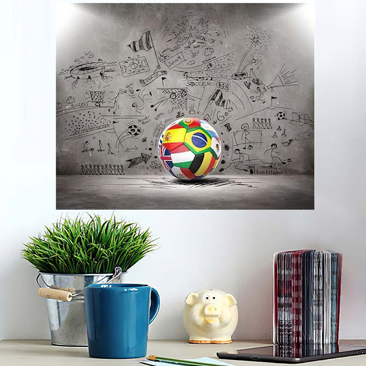 3D Football Soccer Ball Nations Teams - Football Poster Art