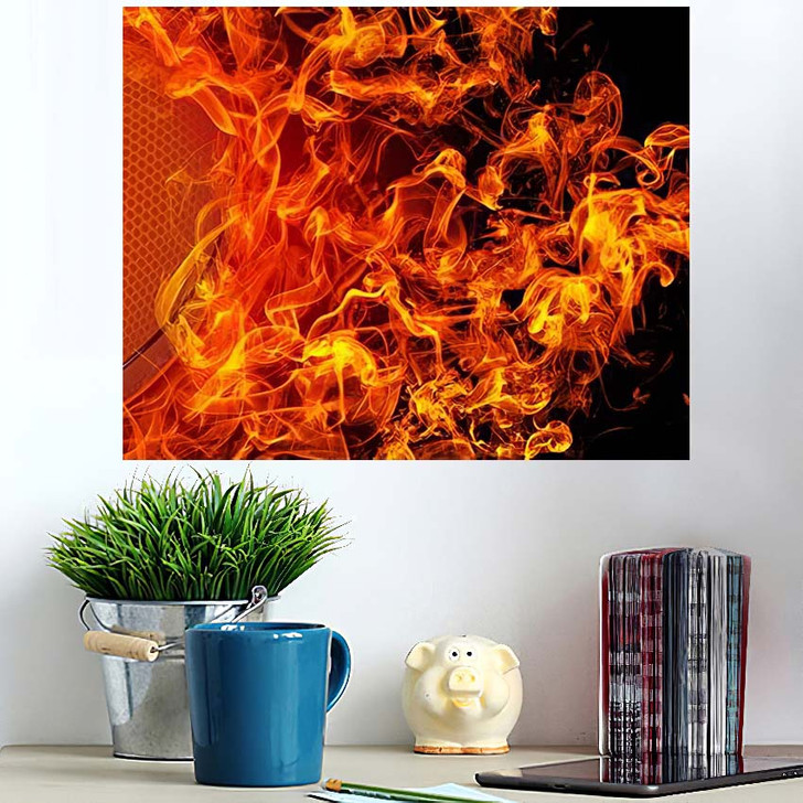 3D Image American Football Ball Fire - Football Poster Art