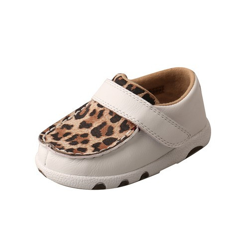 *INFANT DRIVING MOCCASINS - WHITE/LEOPARD ICA0001