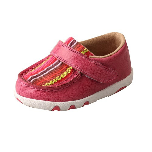 *INFANT DRIVING MOCCASINS - PINK/MULTI CANVAS ICA0003