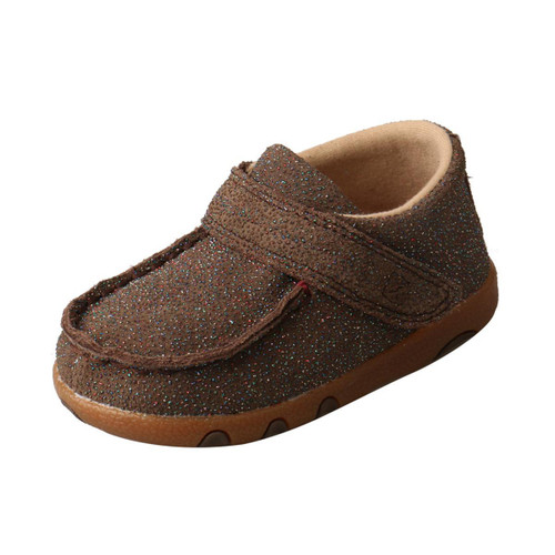 INFANT DRIVING MOCCASINS - CHOCOLATE/SHIMMER ICA0010