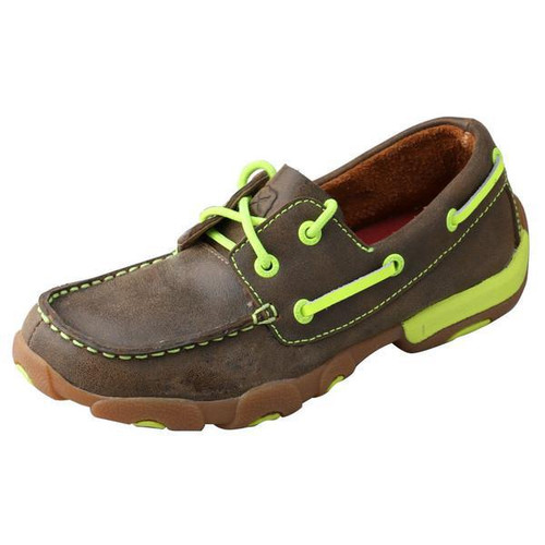 YOUTH DRIVING MOCCASINS - BOAT/NEON YELLOW YDM0005