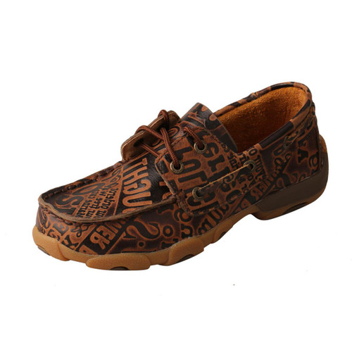 YOUTH DRIVING MOCCASINS - BOAT/BROWN PATTERN YDM0043