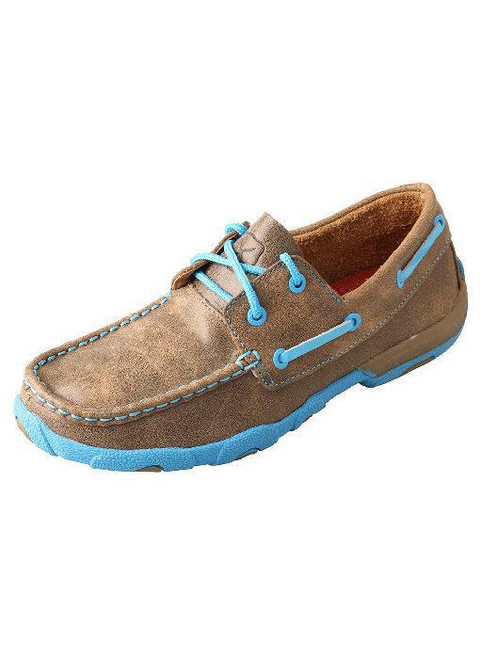 *WOMENS DRIVING MOCCASINS - BOAT BOMBER/NEON BLUE WDM0019