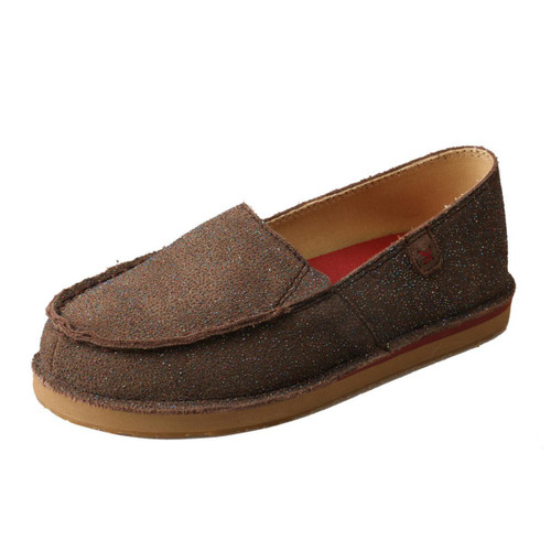 YOUTH SLIP ON MOCCASINS - CHOCOLATE SHIMMER YCL0003