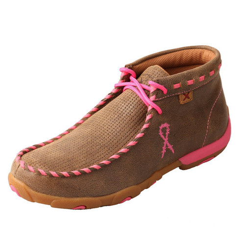 WOMENS DRIVING MOCCASINS - BOMBER/PINK WHIP STITCH WDM0051
