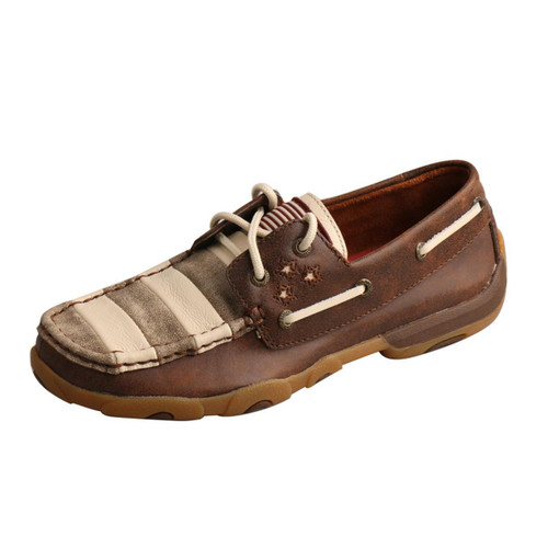 WOMEN BOAT DRIVING MOCCASINS - MUTED PATRIOTIC WDM0100