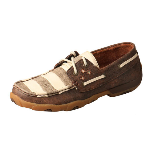 WOMENS BOAT DRIVING MOCCASINS - BROWN/IVORY WDM0109