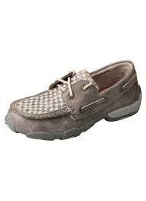 YOUTH BOAT DRIVING MOCCASINS - GREY CHECK