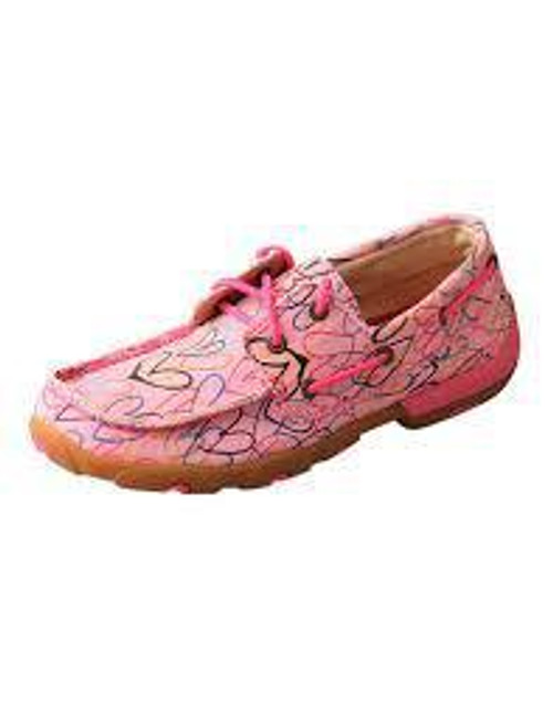 YOUTH BOAT DRIVING MOCCASINS - PINK/MULTI