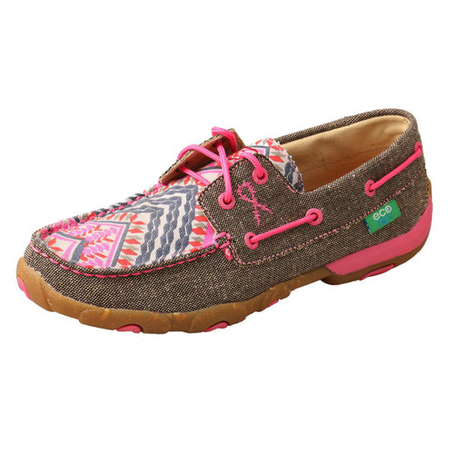 WOMENS BOAT DRIVING MOCCASINS - DUST/PINK MULTI WDM0132