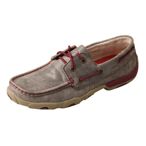 WOMENS BOAT DRIVING MOCCASINS - GREY/BERRY WDM0121