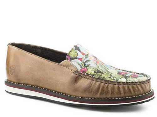 WOMENS ROPER MOCCASINS - PRICKLY PEAR/TAN