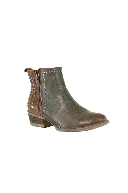 LD GREEN-BROWN STUDS ROUND TOE ANKLE BOOT Q5011