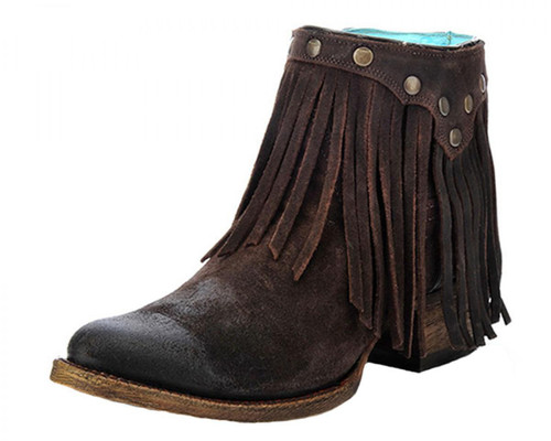 LD BROWN FRINGE ANKLE BOOT A3135