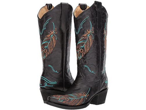 LD BLACK  FEATHER EMBROIDERY L5286