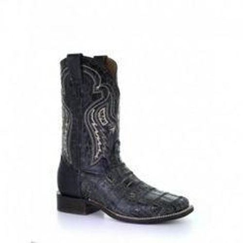 MN BLACK FUSCUS PATCH WORK WIDE SQ. TOE RODEO COLLECTION A3824