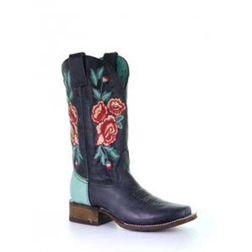 LD BLACK/TURQUOISE FLORAL EMBROIDERY SQ. TOE RODEO COLLECTION A3807