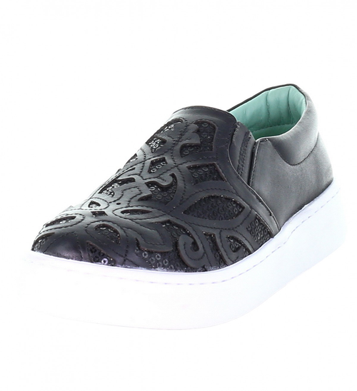 LD BLACK INLAY & EMBROIDERY SNEAKER E1565