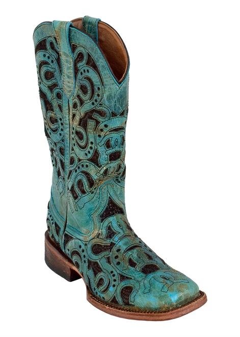 Ladies Horseshoe Turquoise S-Toe