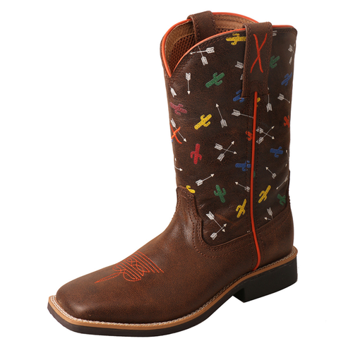 Twisted X Brown / Arrow Cactus Youth Top Hand NWS Toe YTH0011
