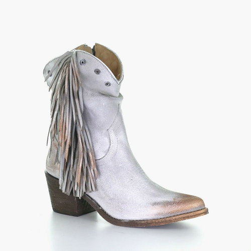 LD GREY STUDS & FRINGES ANKLE BOOT ROUND TOE Q0169