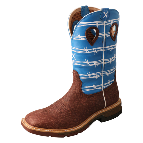 """MEN'S 12"""" WESTERN WORK BOOT WITH CELLSTRETCH® Burgundy & Sky Blue - MXB0001"""